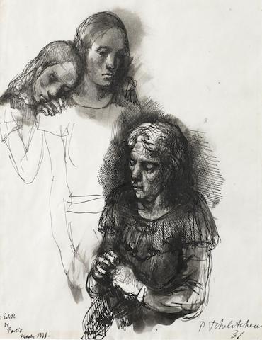Pavel Tchelitchew (Russian, 1898-1957) Etude de Trois Femmes