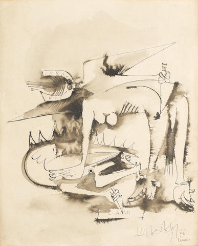 Wilfredo Lam, Surrealist figure, pen and ink