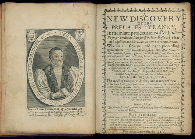 PRYNNE (WILLIAM) A New Discovery of the Prelates Tyranny in their Late Prosecutions of Mr. William Pryn, 1641
