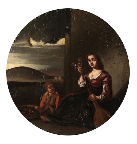 Follower of Michelangelo Cerquozzi (Rome circa 1602-1660) A woman selling flowers before an Italianate landscape 23.8cm (9 3/8in) diameter.