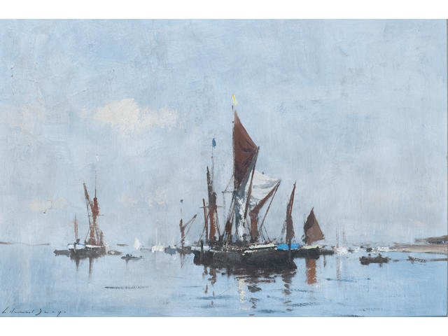 Edward Seago R.W.S. (British, 1910-1974) Barges at Slack Water 35.5 x 51 cm. (14 x 20 in.)