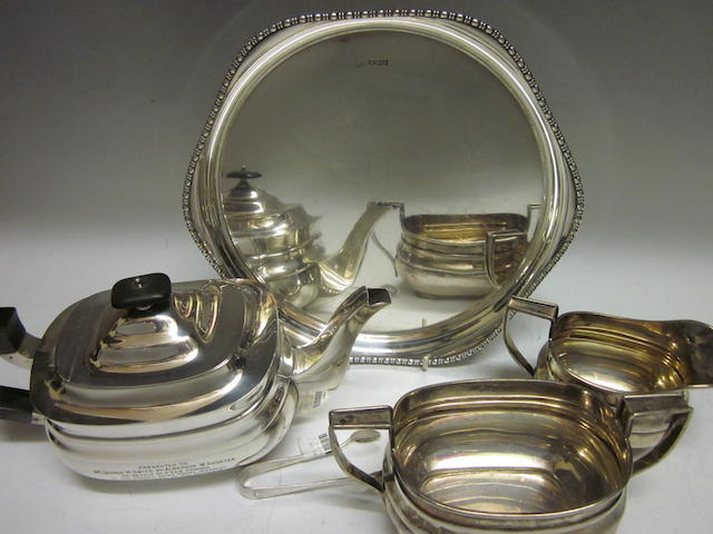 A matching three piece tea service, by William Hutton and Sons,  London 1908,09,10,  (5)