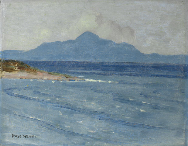 Paul Henry R.H.A. (Irish, 1876-1958) A view of Croagh Patrick from Achill Island 19 x 24.5 cm. (7 1/2 x 9 5/8 in.)