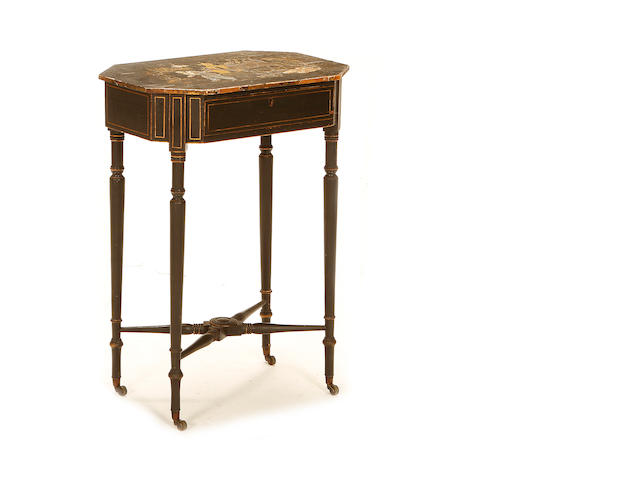 A Regency black japanned side table