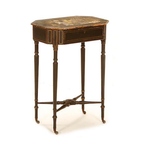 A Regency black japanned side table
