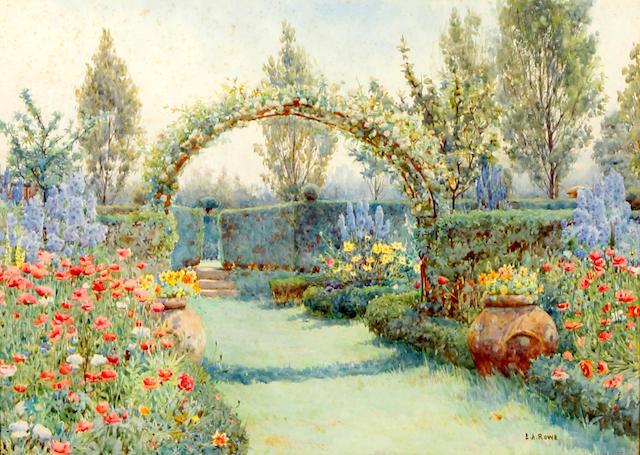 Ernest Arthur Rowe (British, 1863-1922) The arist's garden