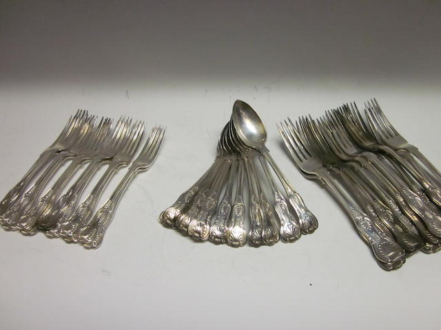 A composite canteen of Kings Pattern flatware, London 1900,