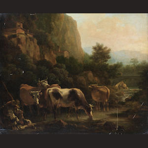 Flemish School, 18th Century A shepherd and his dog grazing cattle before an Italianate landscape