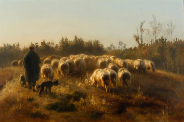Xavier de Cock (Belgian, 1818-1896) A shepherd and his flock