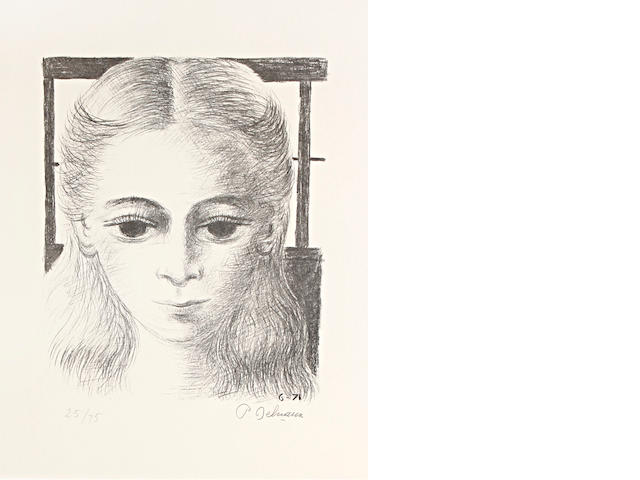 Paul Delvaux (Belgian, 1897-1994) Anne, full face Lithograph, 1971, on Arches, signed and numbered 25/75 in pencil, 580 x 482mm (22 7/8 x 19)(SH) unframed