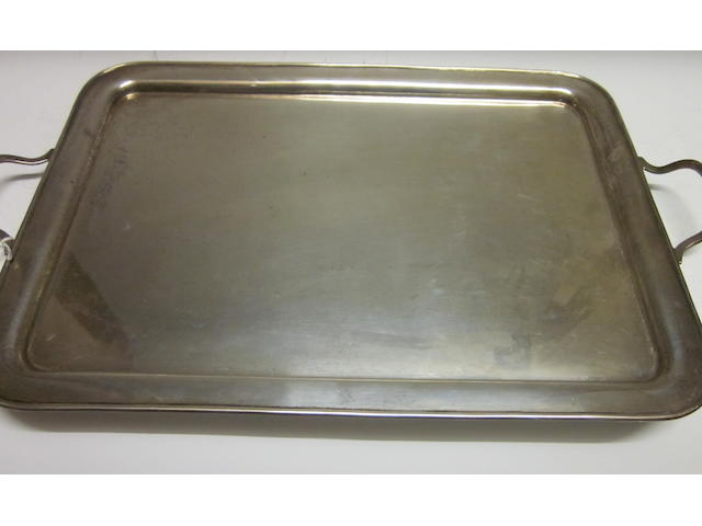 A rectangular two handled tray