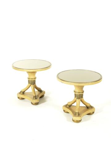 Pair of Side Tables French, circa 1940  painted and gilded wood and mirrored glass   Height: 44 cm.                 17 5/16 in. Diameter: 45 cm.                  17 11/16 in.