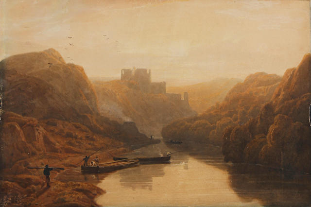 William Havell RWS (British, 1782-1857) River landscape; River landscape with castle. (2)