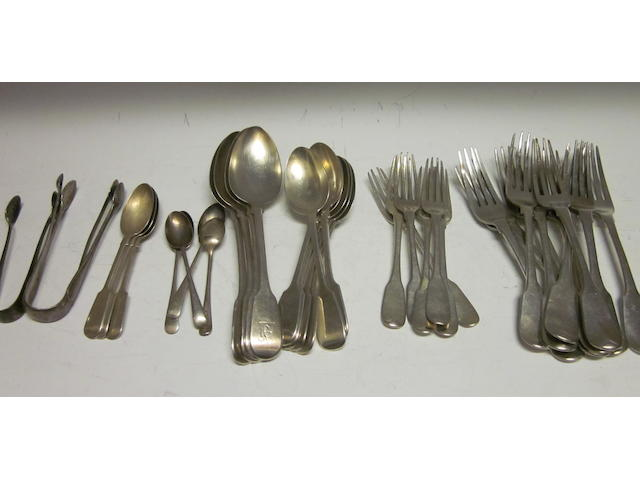 A set of six fiddle pattern dessert spoons, by Lias and Lias, London 1857,  (Qty)