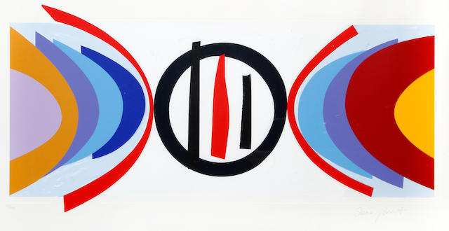 Sir Terry Frost R.A. (British, 1915-2003) Black Circle (Kemp 223)  Screenprint in colours, 2002, on Arches, signed and numbered 150/150 in pencil, printed by Coriander Studio, London, published by CCA Galleries, Tilford, with wide margins, 310 x 750mm (12 1/4 x 29 1/2in)(I)
