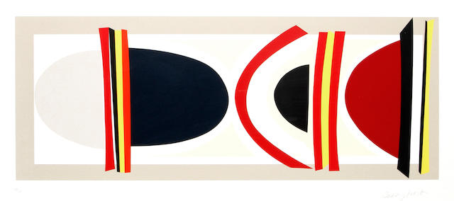 Sir Terry Frost R.A. (British, 1915-2003) Long Red, Yellow and Black Screenprint in colours, on Arches, signed and numbered 138/150 in pencil, printed by Coriander Studio, London, published by CCA Galleries, Tilford, with wide margins, 305 x 785mm (12 x 31in)(I)