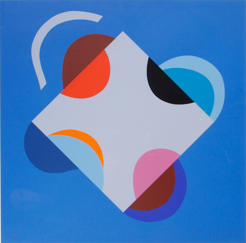 Sir Terry Frost R.A. (British, 1915-2003) Development of a Square within a Square (Blue)(Kemp 201) Screenprint in colours, 2000, on heavy wove, signed and numbered 95/150 in pencil, printed by Coriander Studio, London, published by CCA Galleries, Tilford, the full sheet printed to the edges, 585 x 585mm (23 x 23in)(SH)