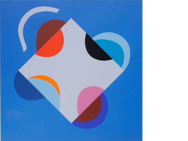 Sir Terry Frost R.A. (British, 1915-2003) Development of a Square within a Square (Blue)(Kemp 201)  Screenprint in colours, 2000, on heavy wove, signed and numbered 95/150 in pencil, printed by Coriander Studio, London, published by CCA Galeries, Tilford, the full sheet printed to the edges, 585 x 585mm (23 x 23in)(SH)