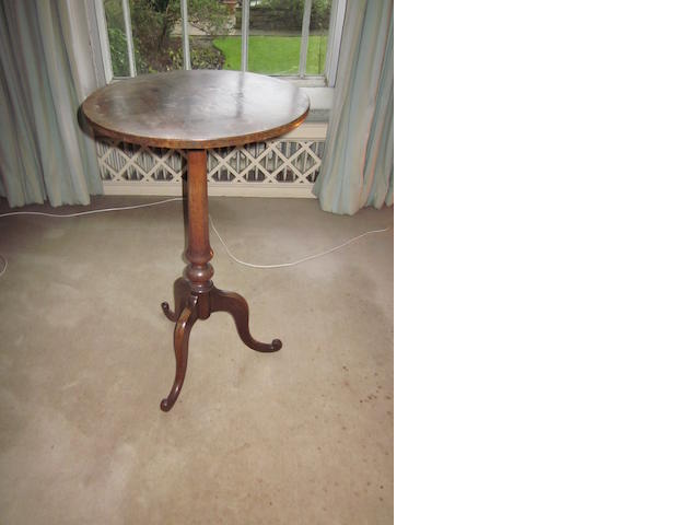 A 19th century rosewood wine table, on tripod base.