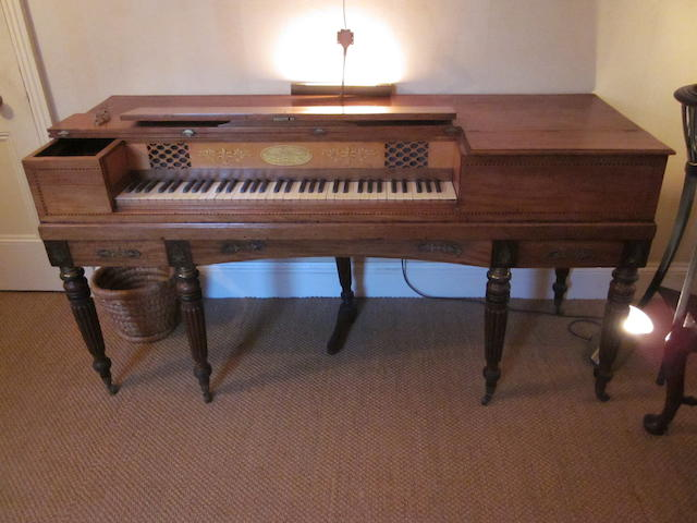 An early 19th century mahogany cased square piano by Thomas Preston, The Strand.