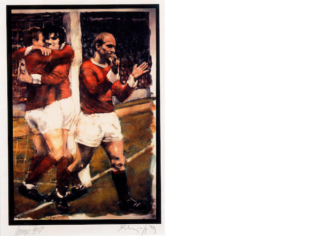 George Best print by Harold Riley, hand signed