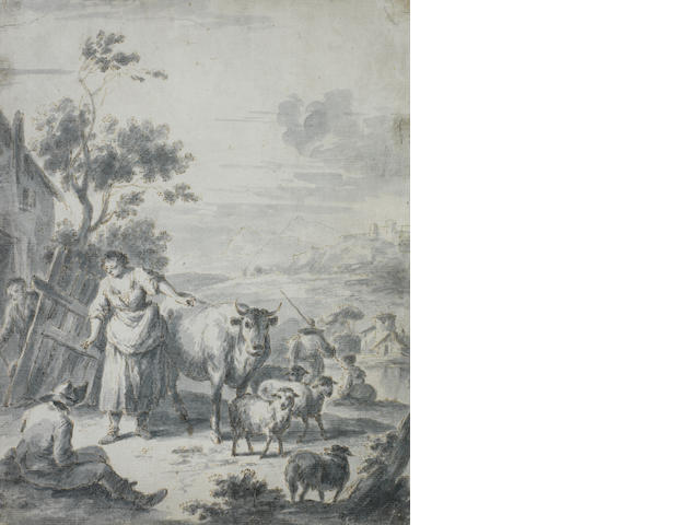 Giuseppe Zais (Forno di Canale 1709-1784 Treviso) A rural landscape with peasants and animals