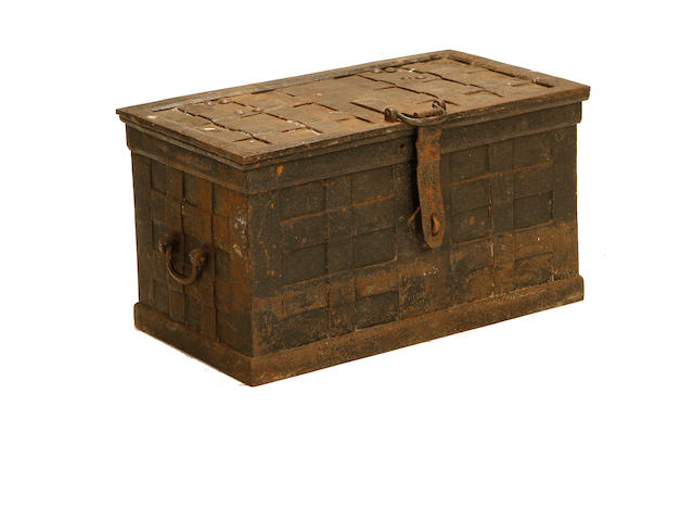 A German early 18th century wrought iron strongbox
