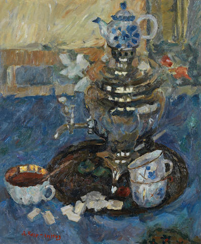 Alexander Rose-Innes (South African, 1915-1996) Still life with samovar unframed