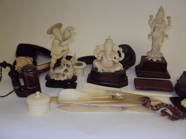 A collection of ivory and other works of art