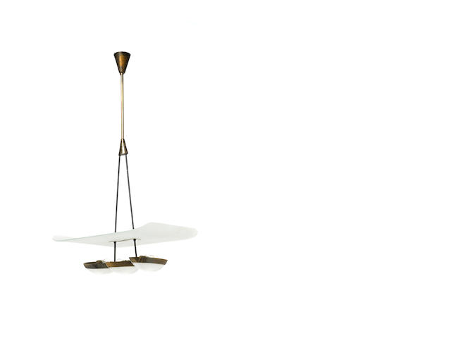 PGL 884š CEILING LIGHT by GINO SARFATTI 3 'floats' under a frosted glass
