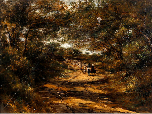 Follower of David Cox Snr., OWS (British, 1783-1859) Three figures driving sheep on a shaded lane