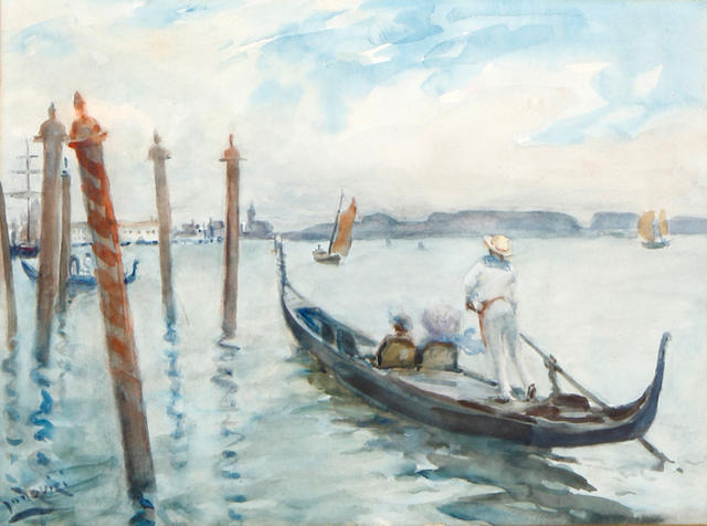 Albert Ludovici, Jnr., RBA (British, 1852-1932) A gondolier on the Lagoon, Venice