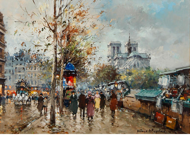 Antoine Blanchard (French, 1910-1988) Paris street scene with Notre Dame in the distance