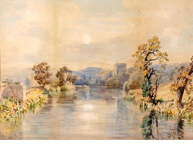 John Joseph Cotman (British, 1814-1878) Extensive river landscape with castle tower