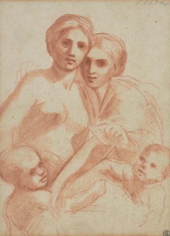 Bolognese School, 17th Century Study of two female figures and two children