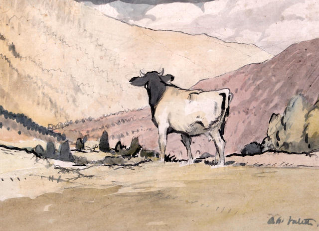 Adolphe Valette (French, 1876-1942) Cow in a mountainous landscape