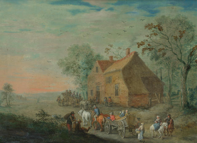 Follower of Jan Brueghel the Younger (Antwerp 1601-1678) Travellers on a country path, with a barn in the distance