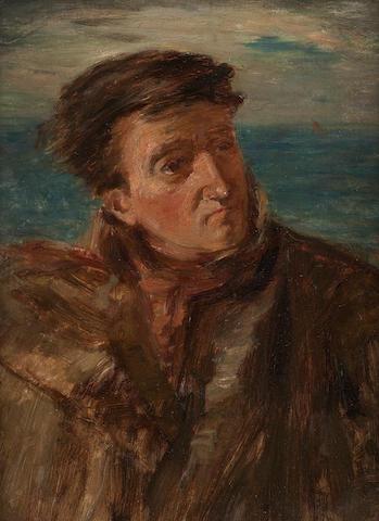 William McTaggart, RSA RSW (British, 1835-1910) A fisherman (study) 28.5 x 22 cm. (11 1/4 x 8 11/16 in.)