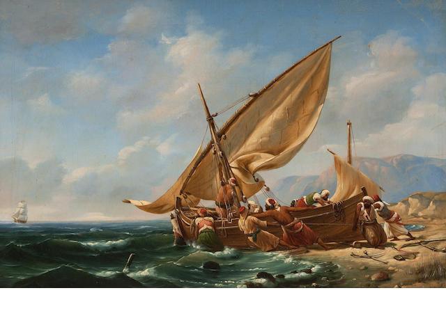 Professor Niels Simonsen (Danish, Copenhagen 1807-1885 Frederiksberg) Corsairs setting sail