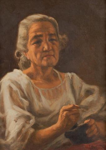 Fernando Cueto Amorsolo (Filipino, 1892-1972) Portrait of an Elderly Lady