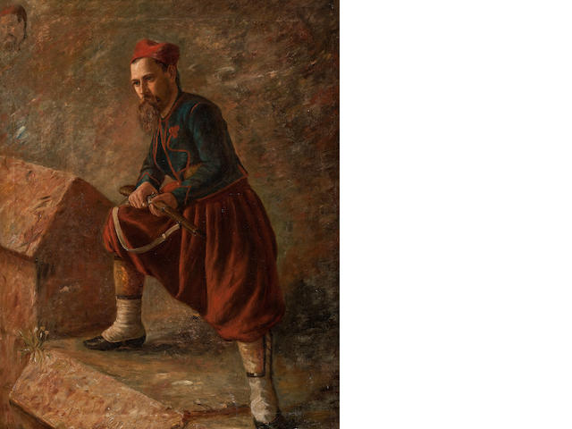 Professor Niels Simonsen (Danish, Copenhagen 1807-1885 Frederiksberg) Portrait of a Turkish soldier with his rifle