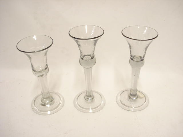 Three continental soda glass wine glasses Mid 18th century