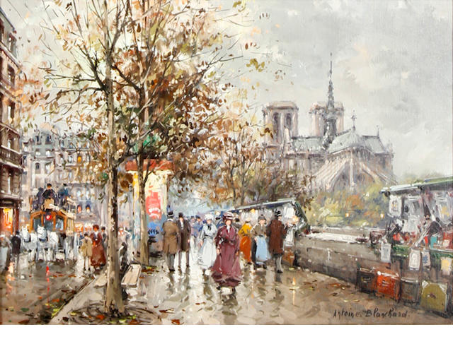 Antoine Blanchard (French, 1910-1988) Notre Dame and les Bouquinistes à Paris en 1900