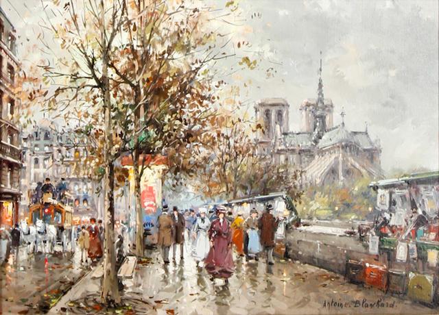 Antoine Blanchard (French, 1910-1988) Notre Dame and les Bouquinistes à Paris en 1900