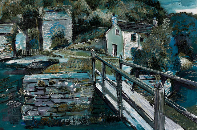 Fred Yates (British, 1922-2008) Bridge at Pont Pill