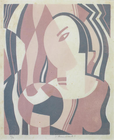 "Leonard Beaumont (British, 1891-1986) Head  Linocut, printed in colours, on laid japan, with margins, signed and numbered 6/12 in pencil, inscribed ""VANITY"" in the lower left margin by another hand, 247 x 200mm (9 3/4 x 7 7/8in)(B)"
