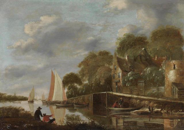 Circle of Klaes Molenaer (Haarlem circa 1630-1676) Fishermen on a shore before a river landscape,  unframed