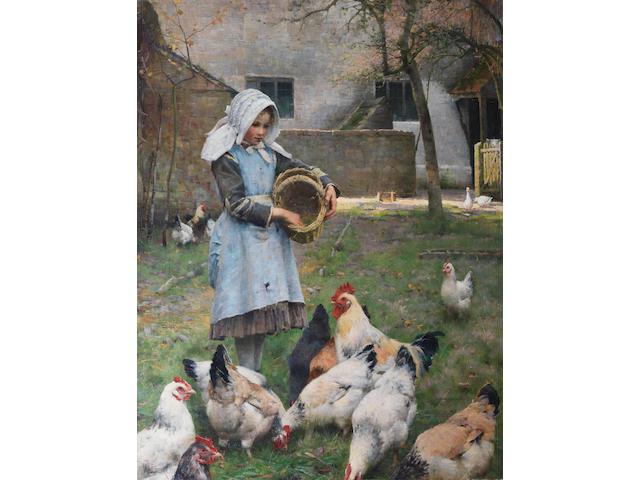 Walter Osborne (British, 1859-1903) Feeding the chickens