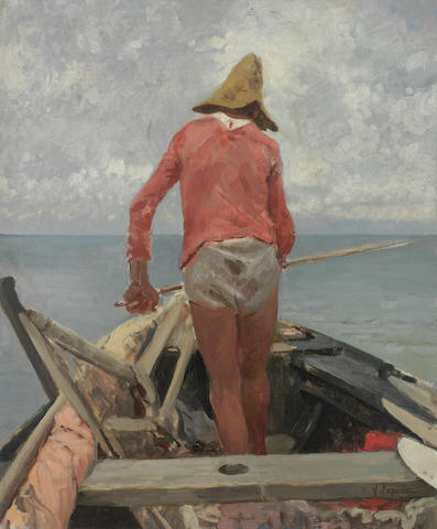 Vincenzo Caprile (Italian, 1856-1936) Study of a fisherman unframed