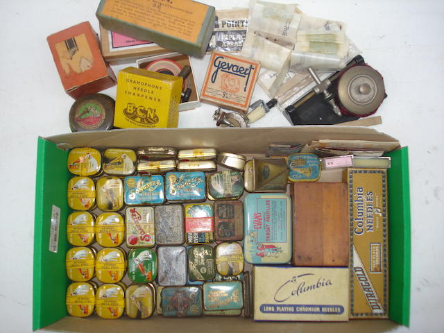 Gramophone needle tins, needles and sharpeners: British and continental,